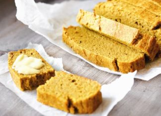 Easy Pumpkin Loaf served warm with butter