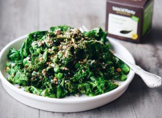 Greens with Tuna and Pistachio Dukkah