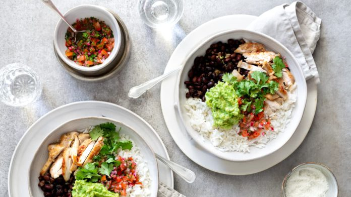 Ingredients for Chicken Burrito Bowls with Pico de Gallo