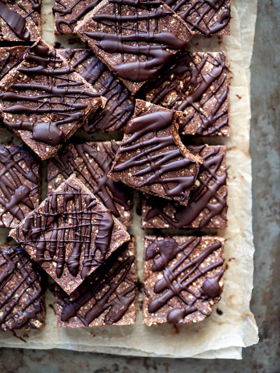 Barras de aveia sem chocolate para assar