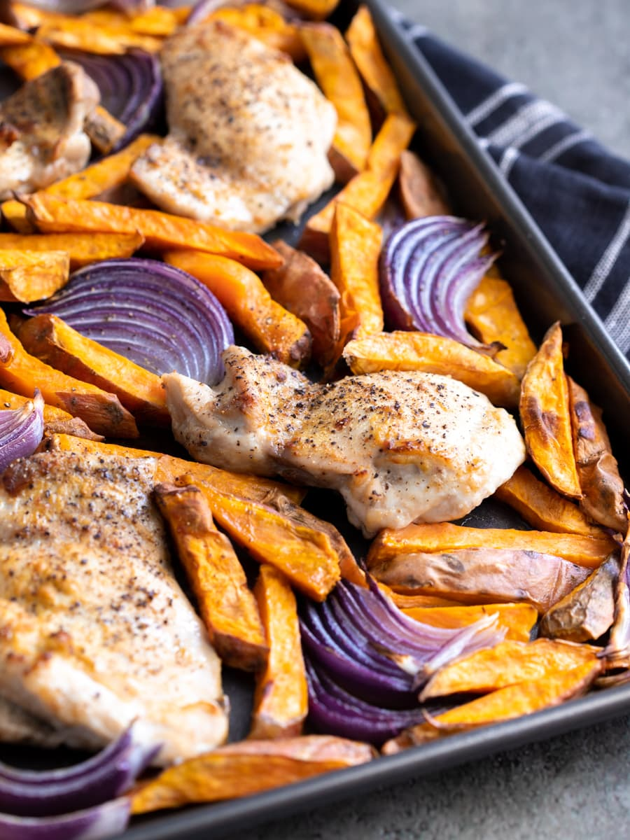 Sheet Pan Chicken with Sweet Potato and Red Onion