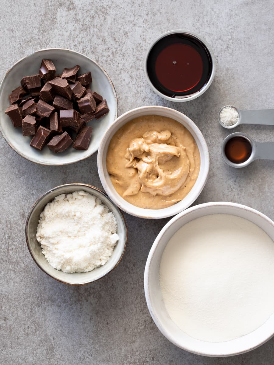 Ingredients for Cookie Dough Protein Bars with Collagen Powder
