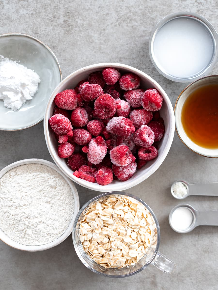 Ingredients for Vegan Raspberry Crumble Bars