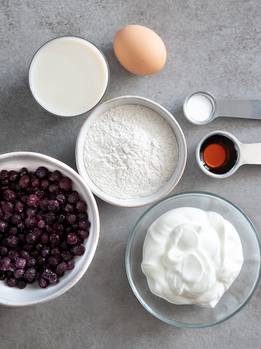 Ingredients for Buckwheat Pancakes with Quick Blueberry Compote