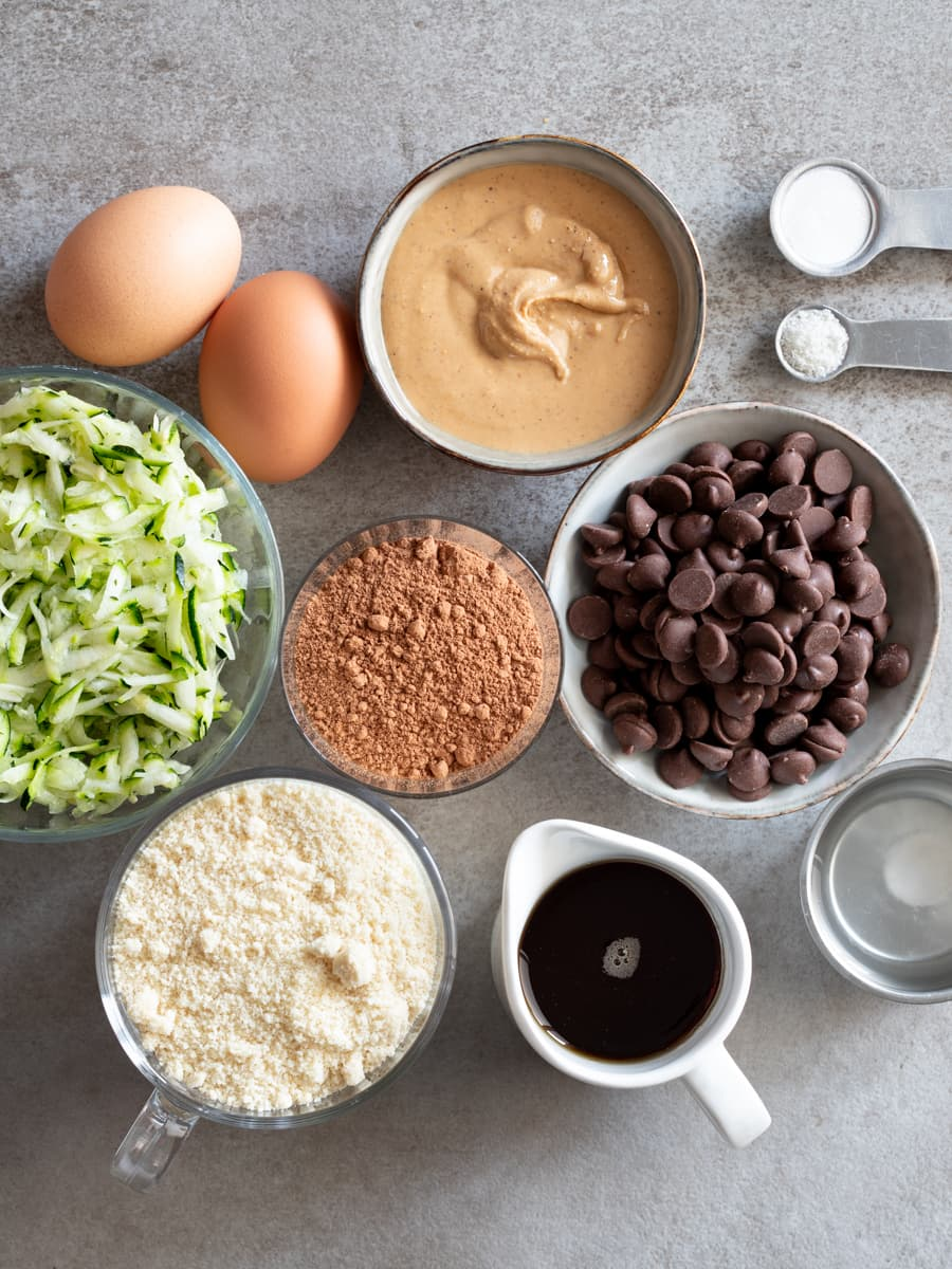 Ingredients for Grain Free Double Chocolate Zucchini Bread